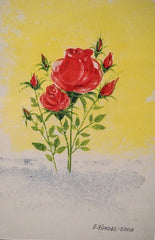 "PRT0041 - ""Red Rose Bouquet"" - Framed Art Print by Artist Ernst Zundel Collectible"