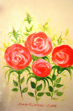 "PRT0055 - ""Red Rose Bunch"" - Framed Art Print by Artist Ernst Zundel Collectible"