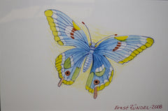 "PRT181 - ""Great Blue Butterfly"" - Framed Art Print By Artist Ernst Zundel Collectible"