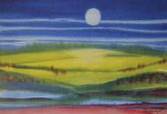 "PRT184 - ""Moonrise Over the Valley"" - Framed Art Print By Artist Ernst Zundel Collectible"