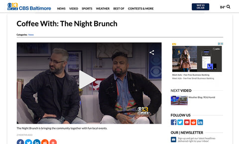 The Night Brunch featured on CBS 13 News in Baltimore