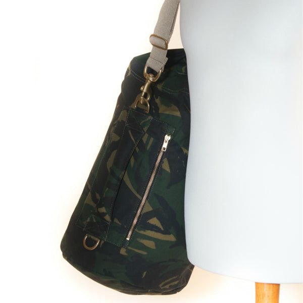 Waxed Canvas Duffel Bag Camouflage Medium