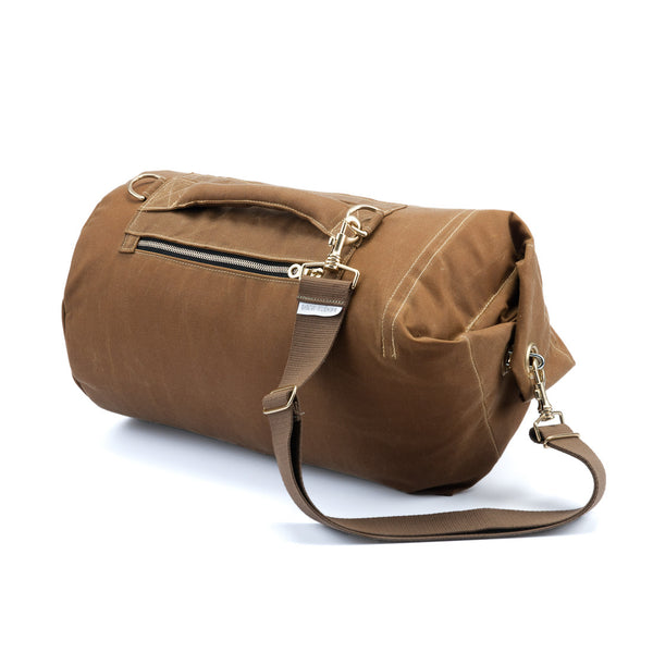 Waxed Canvas Duffel Bag Banoffee Tan Medium