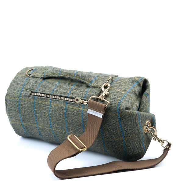 Yorkshire Tweed Duffel Bag Blue Stripe Small