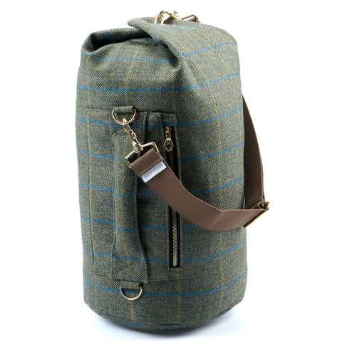 Yorkshire Tweed Duffel Bag Blue Stripe Medium
