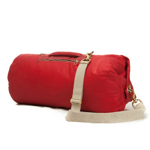 Waxed Canvas Duffel Bag Bing Cherry Large