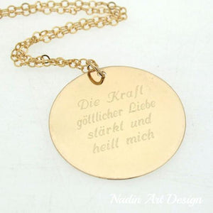 Gold pendant quote necklace