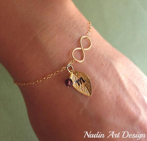 Leaf charm gold bracelet with crystal