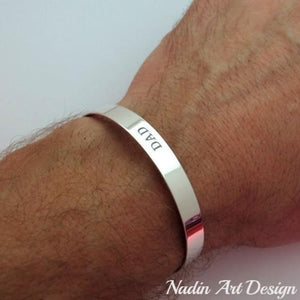Classic Silver Cuff with Engraving