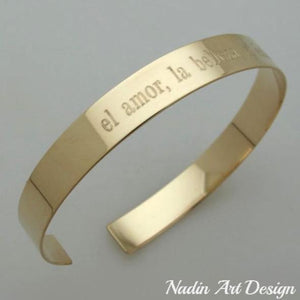 Gold engraved open bracelet