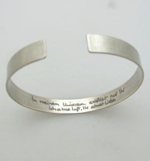 hidden engraved mens cuff - Handwriting Engraved Bracelet