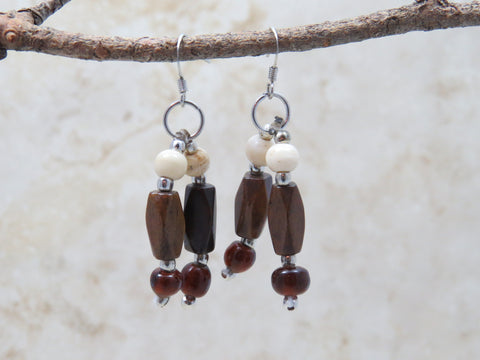 The Abha handcrafted earrings small made of bone - accents brown and cream