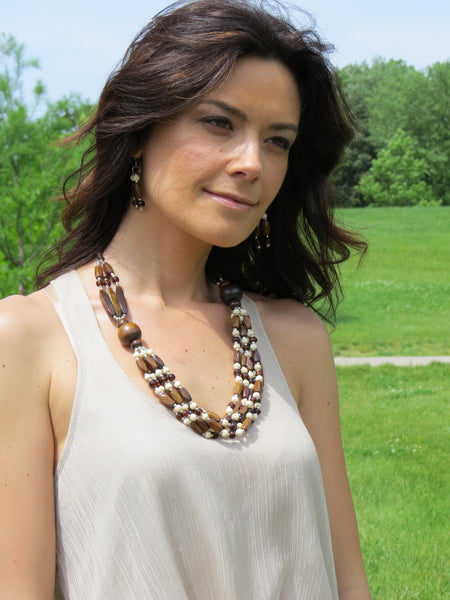 Abha Necklace. Handcrafted with brown and cream accent beads