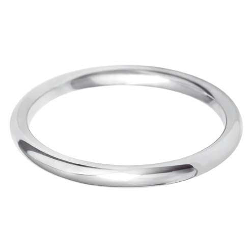 18ct White Gold Ladies Court Shaped Wedding Ring