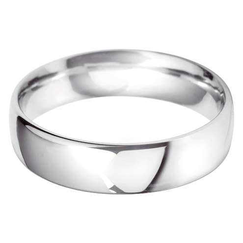 18ct White Gold Gents BC Shaped Wedding Ring