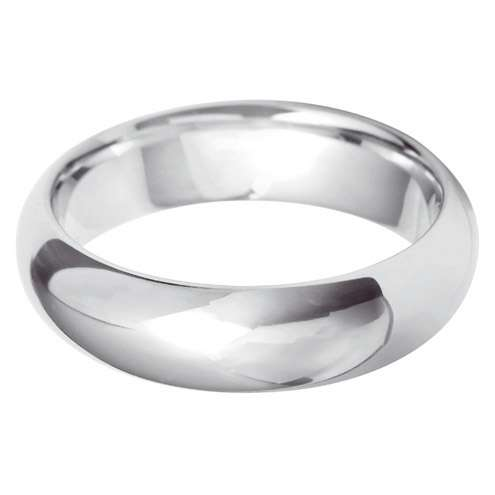 18ct White Gold Gents Court Shaped Wedding Ring