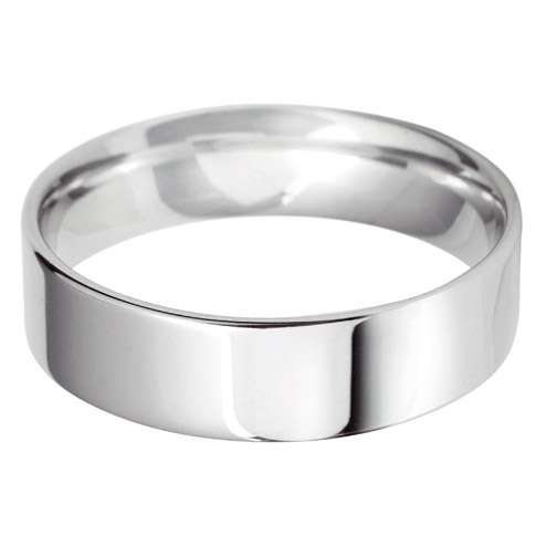 18ct White Gold Gents FC Shaped Wedding Ring