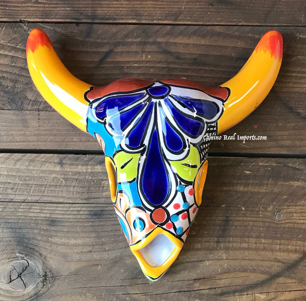 Mexican Wall Hanging Talavera Pottery Cow Skull TBK8003