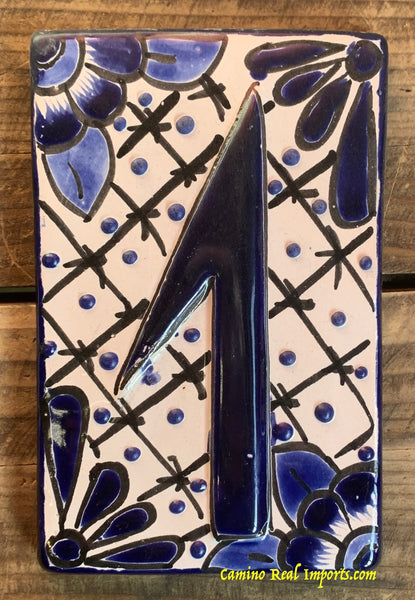 Talavera Tile House Numbers White and Blue Design