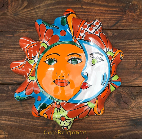 Mexican Wall Hanging Talavera Pottery Eclipse Sun Face TSFE1002