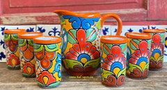 Set Talavera Water Pitcher and 6 Cups STTWP6CP001