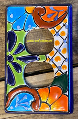MEXICAN TALAVERA POTTERY DOUBLE OUTLET SWITCH PLATE TDSP019