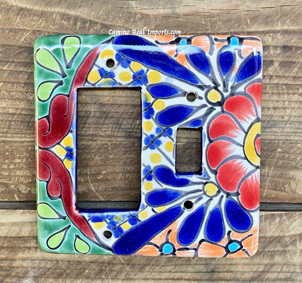 Talavera Pottery Toggle and Rocker Double Switch Plate TTRSPDB001