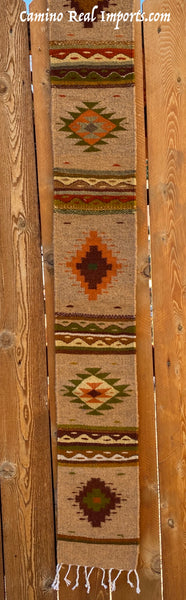 "ZAPOTEC RUG 8"" X 77"" RUNNER WITH SOUTHWESTERN DESIGN  ZRR77-006"