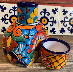 Talavera Water Jug with Cup TWG1CP006