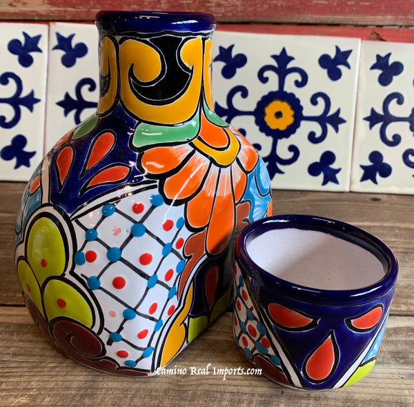 Talavera Water Jug with Cup TWG1CP009
