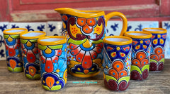 Set Talavera Water Pitcher and 6 Cups STTWP6CP002
