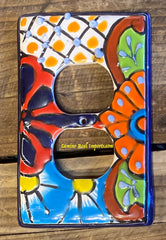 MEXICAN TALAVERA POTTERY DOUBLE OUTLET SWITCH PLATE TDSP014