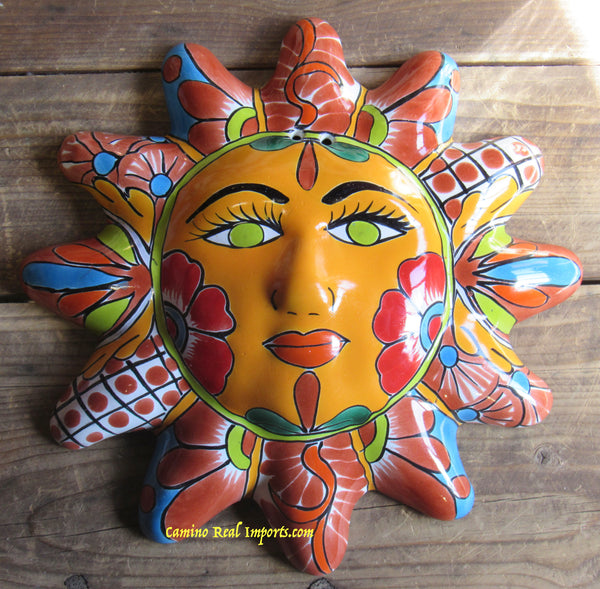 "Mexican Wall Hanging Talavera Pottery Sun Face 11"" TS12023"