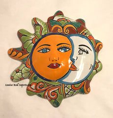 Mexican Wall Hanging Talavera Pottery Eclipse Sun Face TSFE1008