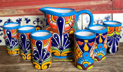 Set Talavera Water Pitcher and 6 Cups STTWP6CP004