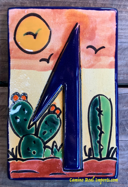 Talavera Tile House Numbers Cactus with Blue Border Desert Design