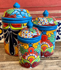Talavera Pottery Ceramic Mexican Imports Tagged Canister Camino Real