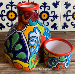 Talavera Water Jug with Cup TWG1CP003