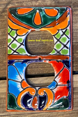MEXICAN TALAVERA POTTERY DOUBLE OUTLET SWITCH PLATE TDSP022
