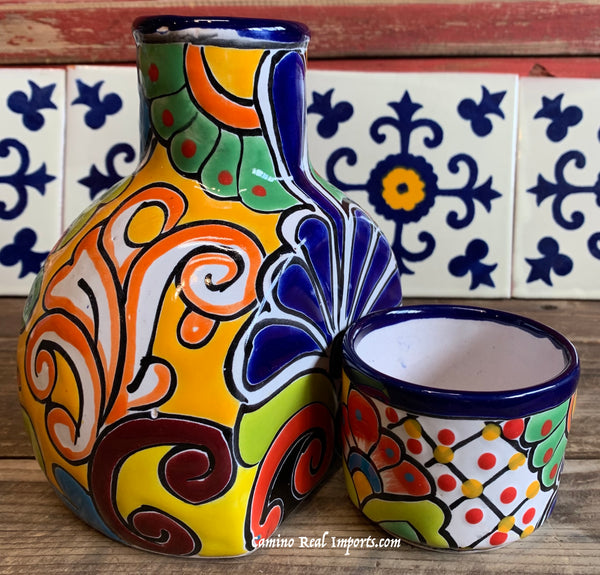 Talavera Water Jug with Cup TWG1CP013
