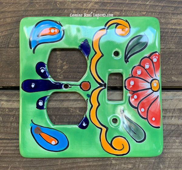 Talavera Pottery Toggle and Outlet Double Switch Plate TTOSPDB002