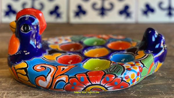 "Talavera Pottery Chicken Egg Tray Holder  9.5"" TCET003"