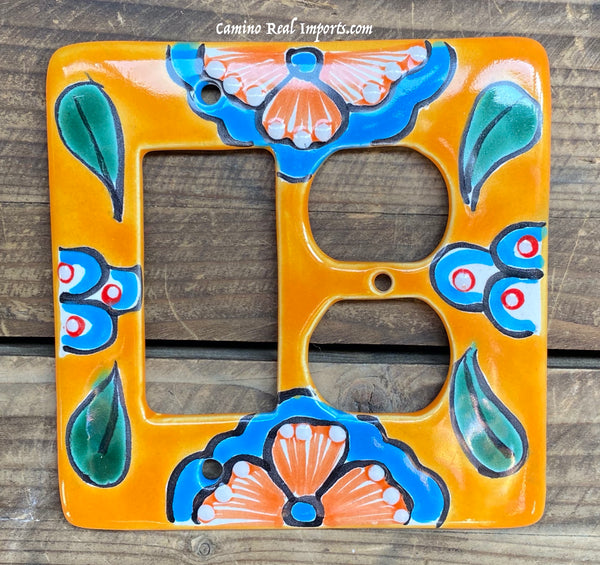 Talavera Pottery Double Switch Plate Toggle and Rocker TROSPDB002