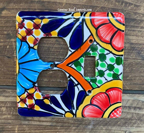 Talavera Pottery Toggle and Outlet Double Switch Plate TTOSPDB006