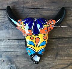 Mexican Wall Hanging Talavera Pottery Cow Skull TSK8005