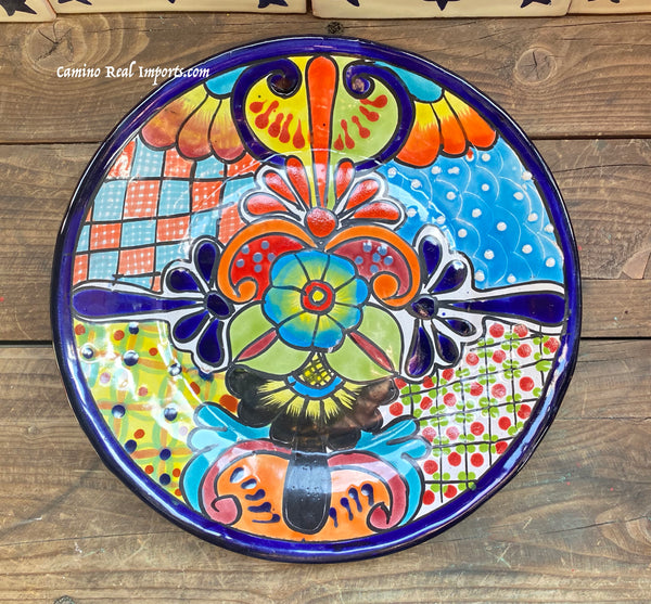 "Mexican Wall Hanging Talavera pottery Plate 11"" TP11026"