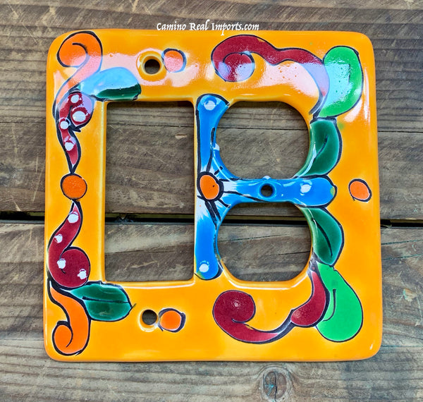 Talavera Pottery Double Switch Plate Toggle and Rocker TROSPDB003