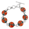 Multi Stone Inlay Sterling Silver Link Toggle Bracelet