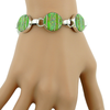 Gaspeite and Opal Inlay Sterling Silver Link Toggle Bracelet