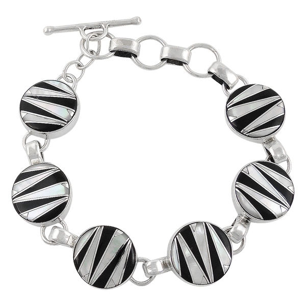 Black Onix and Mother of Pearl Inlay Sterling Silver Link Toggle Bracelet